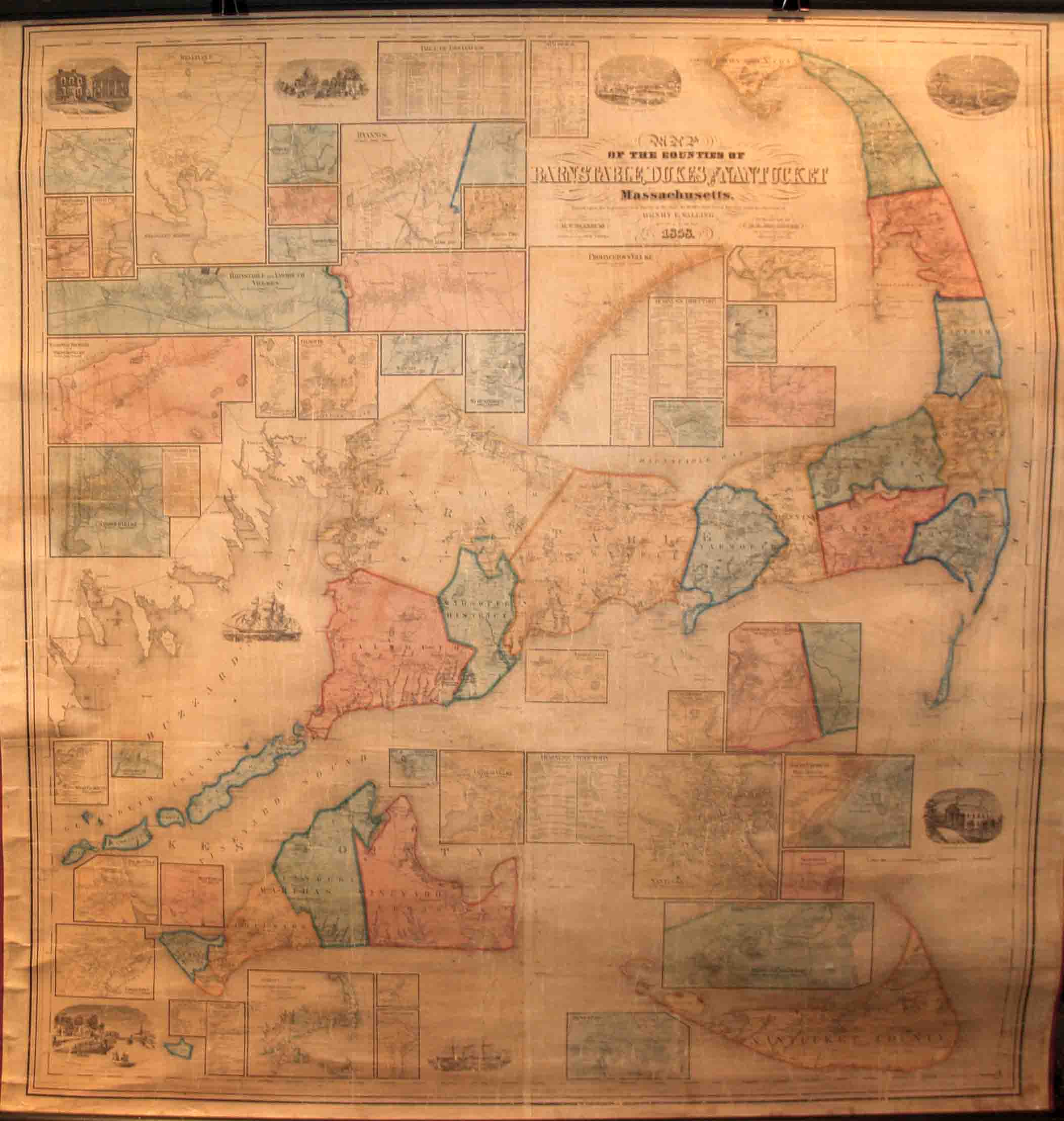 1879 MA Map BARNSTABLE BERKSHIRE BRISTOL DUKES ESSEX FRANKLIN COUNTY POPULATION