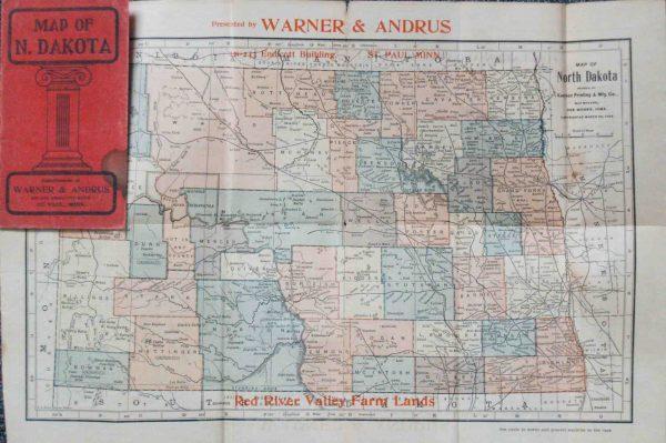 1902 Pocket Map of North Dakota - High Ridge Books, Inc.
