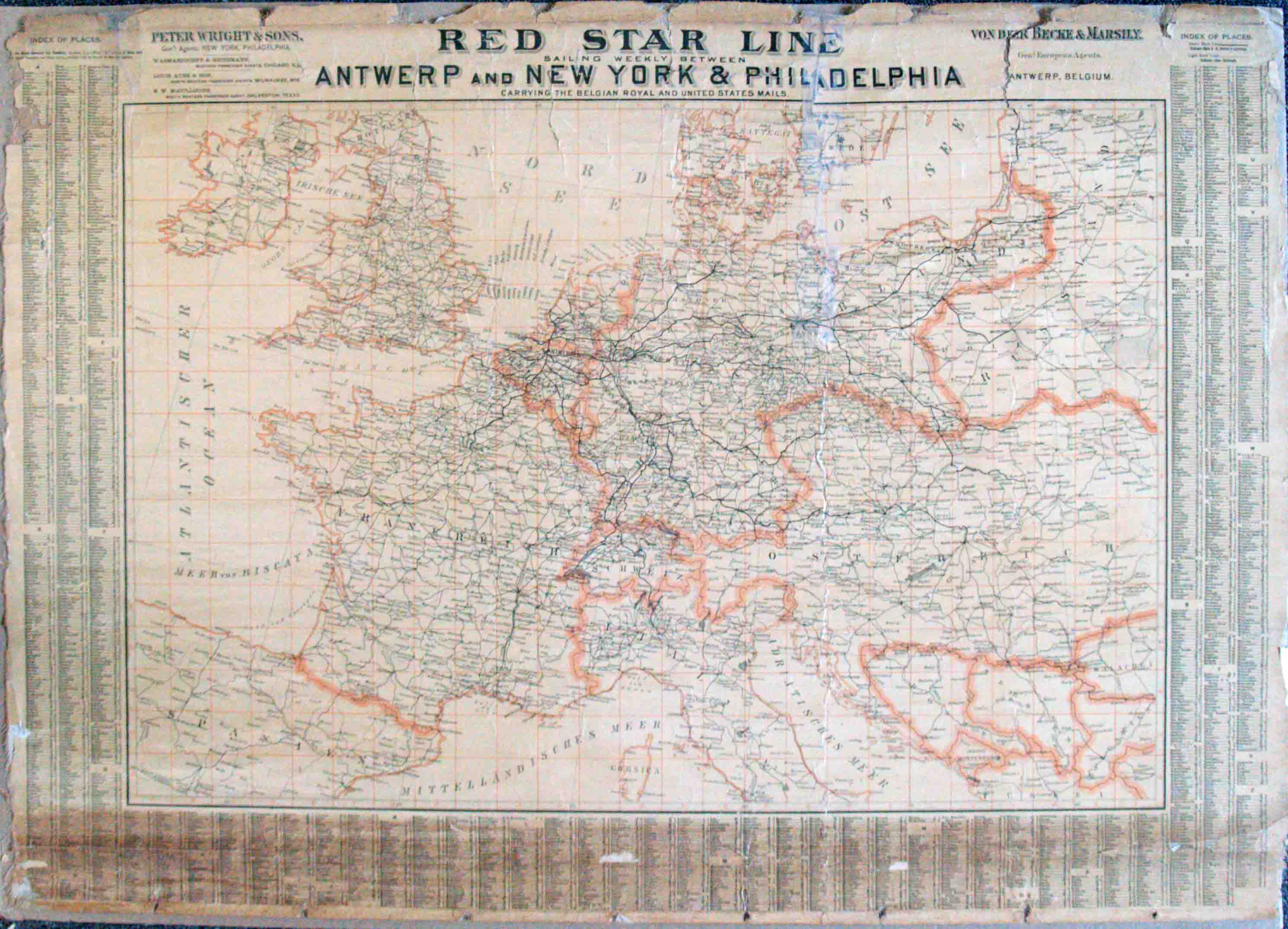 Map of Europe] - Red Star Line, Sailing Weekly between ...